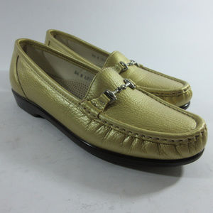 SAS Metro Gold Leather Horse Bit Moc Toe Loafers